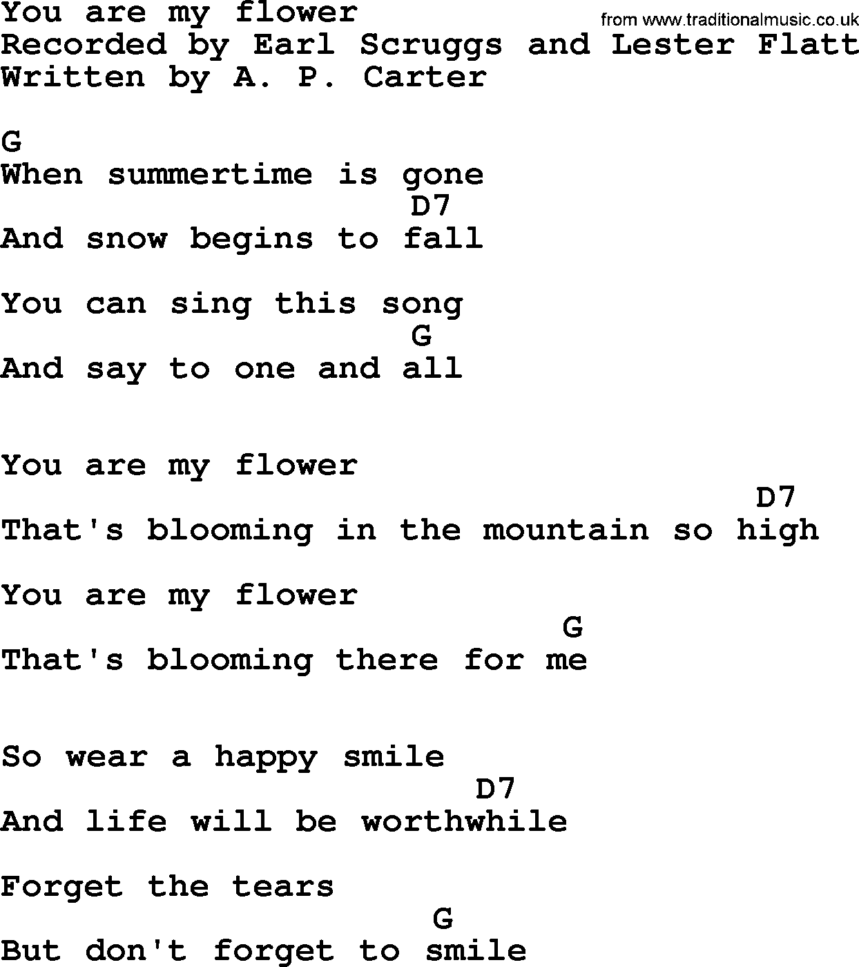 You Are My Flower Bluegrass Lyrics With Chords