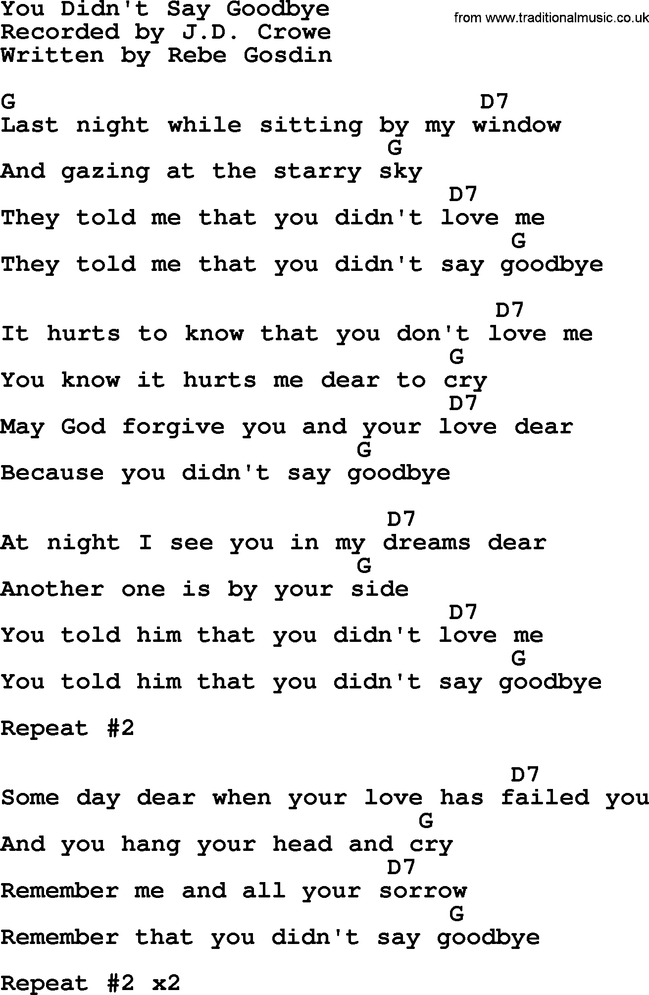 You didnt say goodbye bluegrass lyrics with chords bluegrass song you didnt say goodbye lyrics and chords hexwebz Image collections