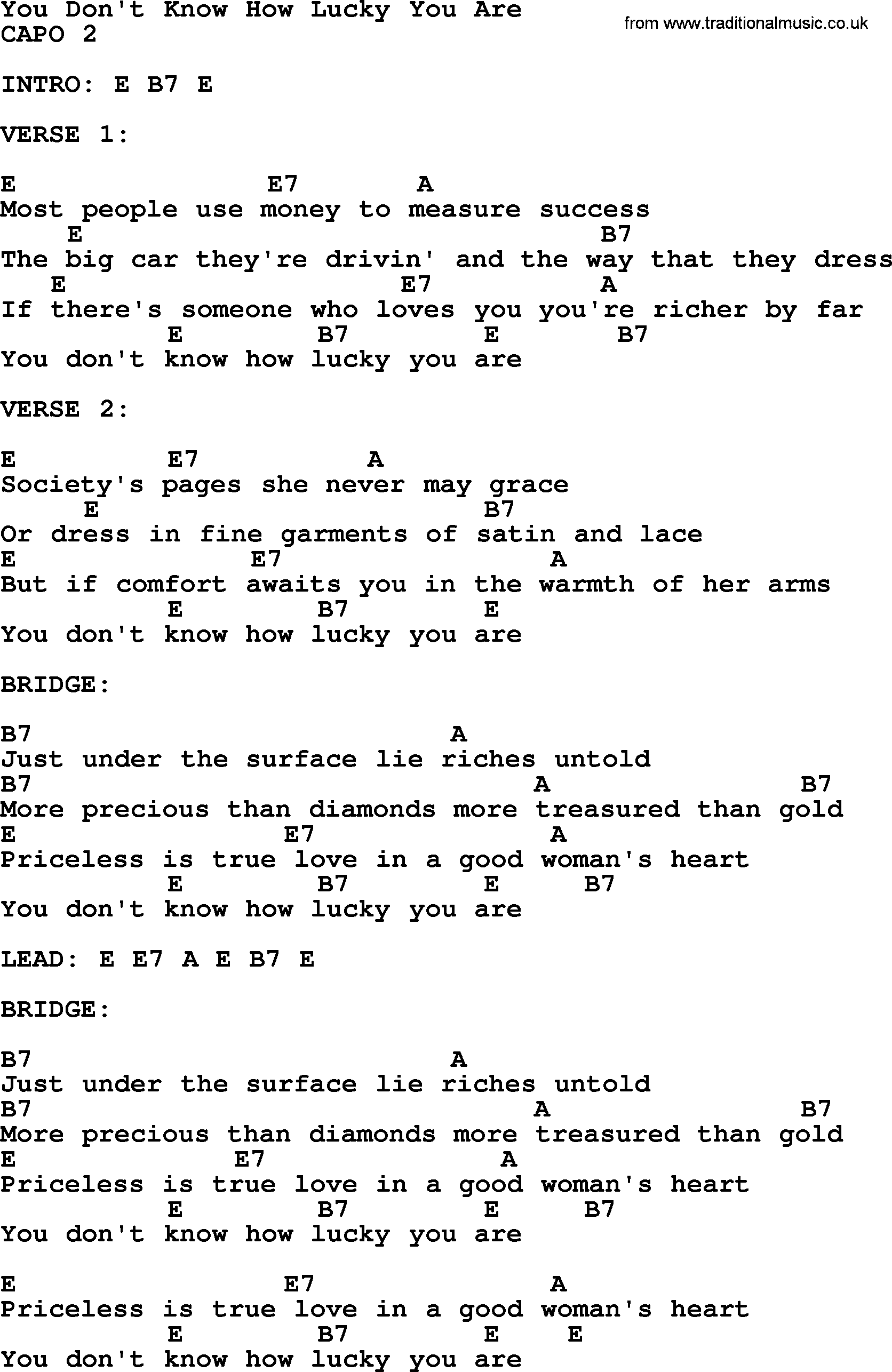 You dont know how lucky you are bluegrass lyrics with chords bluegrass song you dont know how lucky you are lyrics and chords hexwebz Image collections