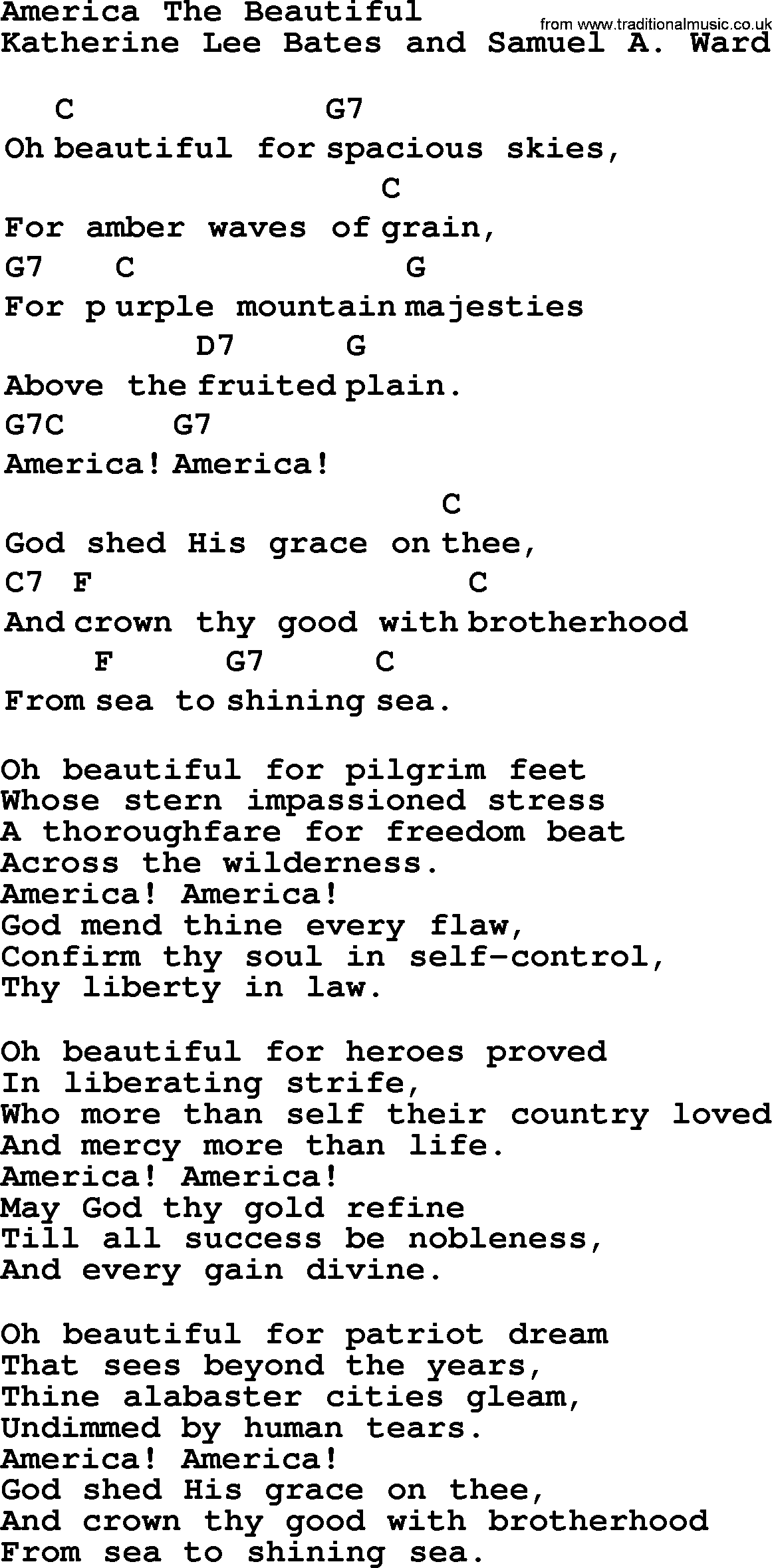 america the beautiful song America the beautiful is a great american patriotic song on this page you'll find the lyrics, history, meaning, music, mp3 download, video, and cd.