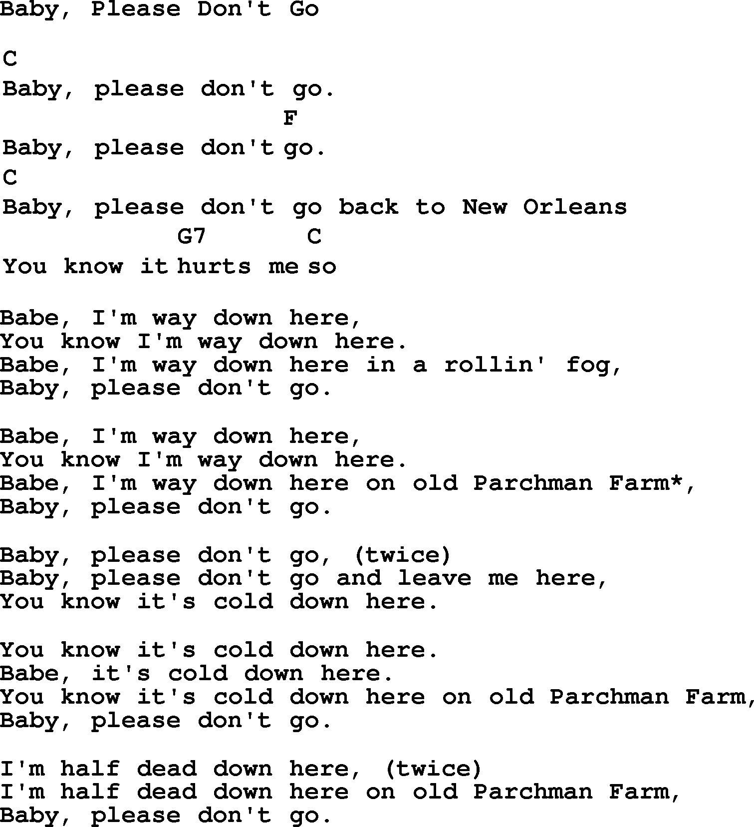 Baby Don't Go Chords, Guitar Tab, and Lyrics by Dwight ...
