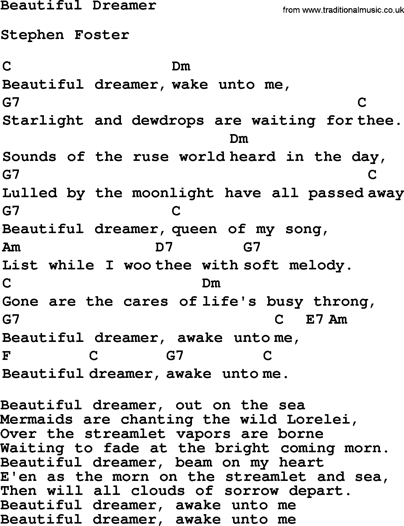 Top 1000 folk and old time songs collection beautiful dreamer top 1000 most popular folk and old time songs beautiful dreamer lyrics and hexwebz Gallery