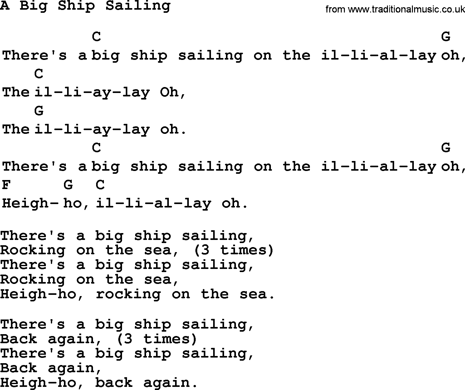 Top 1000 Folk and Old Time Songs Collection: Big Ship