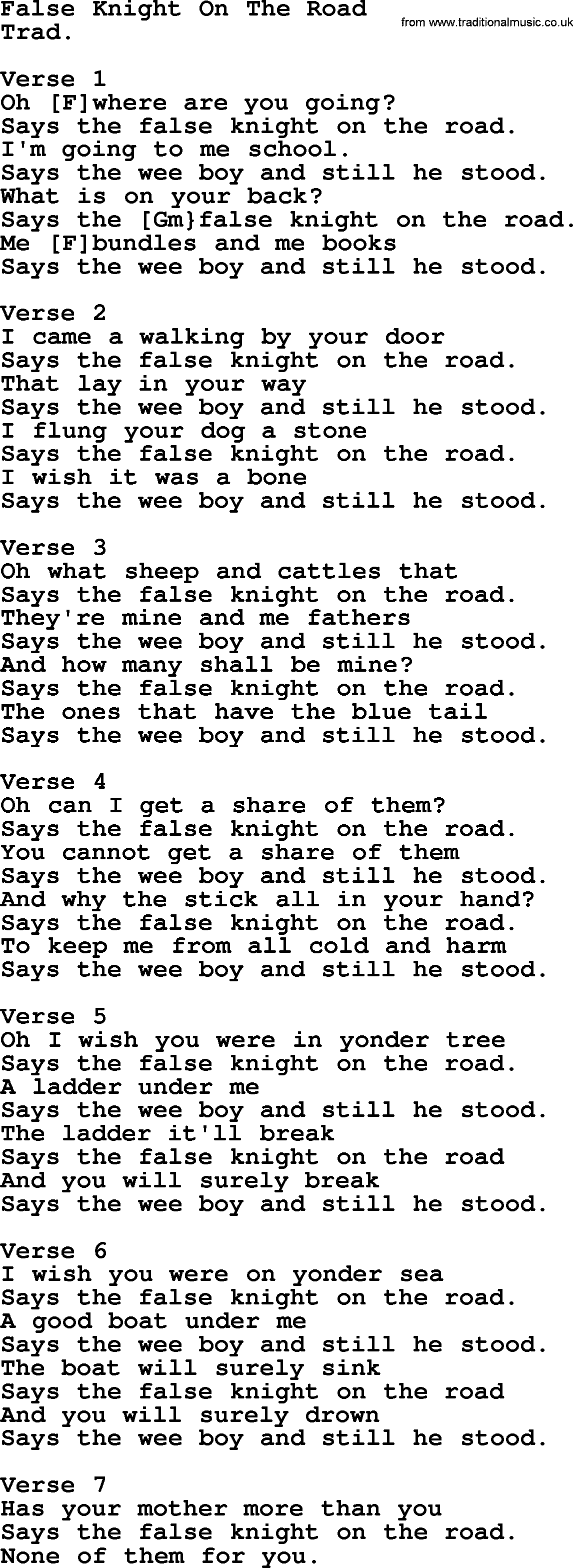 Top 1000 Folk And Old Time Songs Collection False Knight On The Road Lyrics With Chords And Pdf
