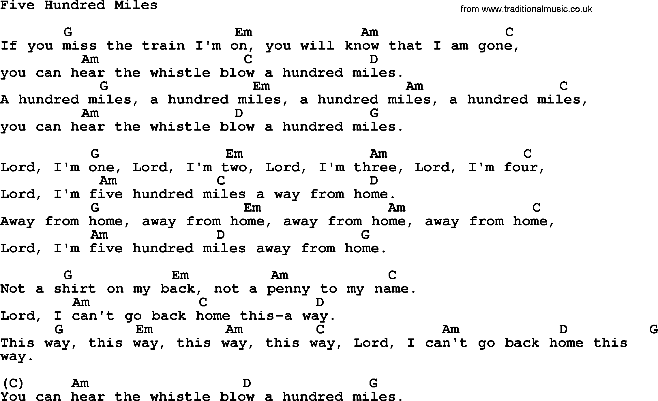 Five Hundred Miles - Song Lyrics - Scout Songs