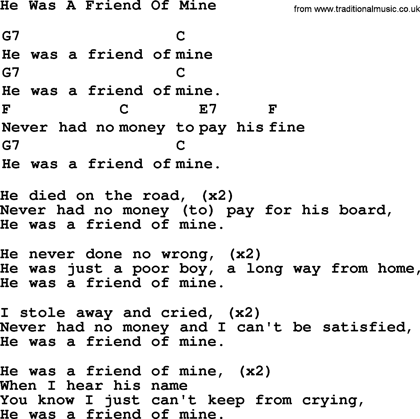 Just a friend of mine lyrics