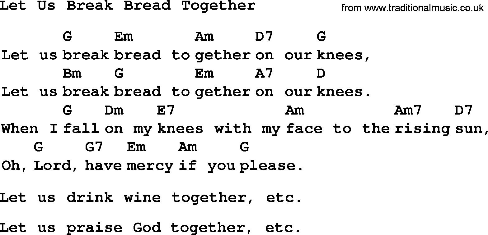Collection let us break bread together lyrics with chords and pdf