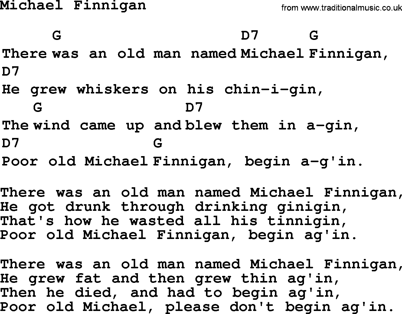Top 1000 folk and old time songs collection michael finnigan top 1000 most popular folk and old time songs michael finnigan lyrics and hexwebz Images