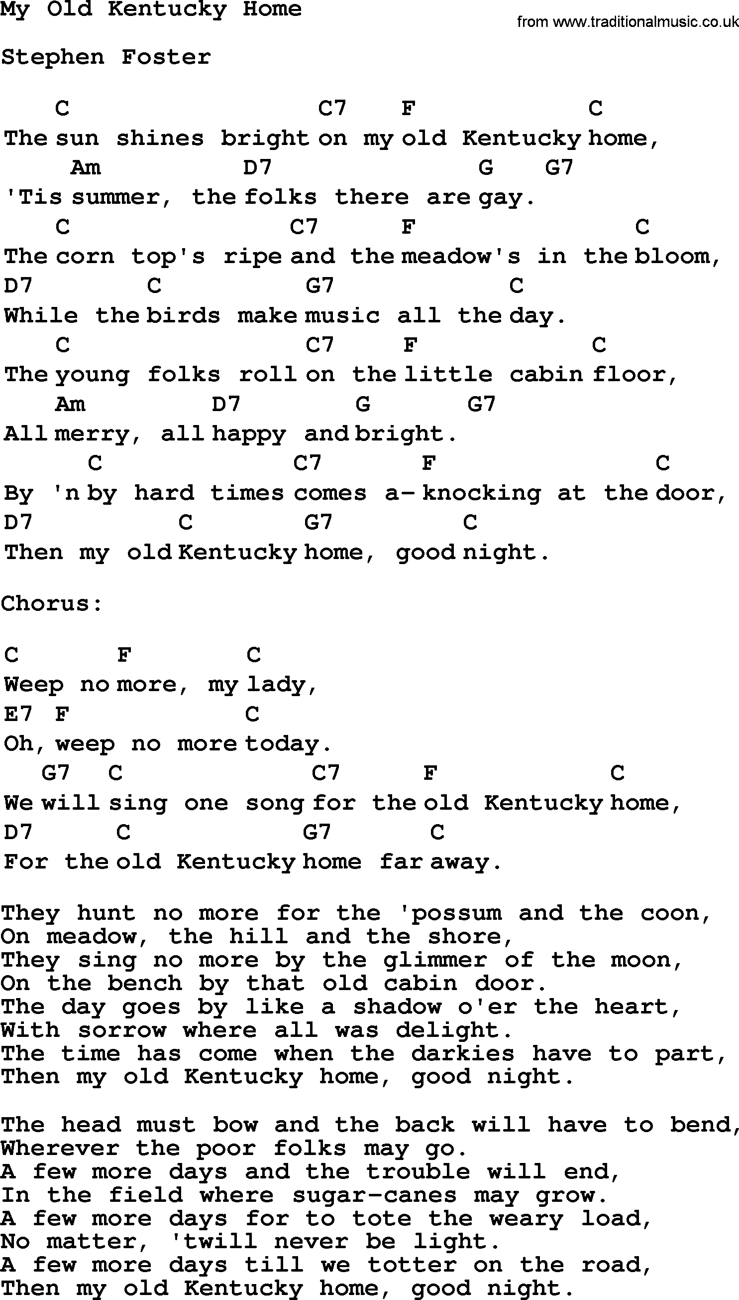 Top 1000 Folk and Old Time Songs Collection: My Old Kentucky Home - Lyrics with Chords and PDF