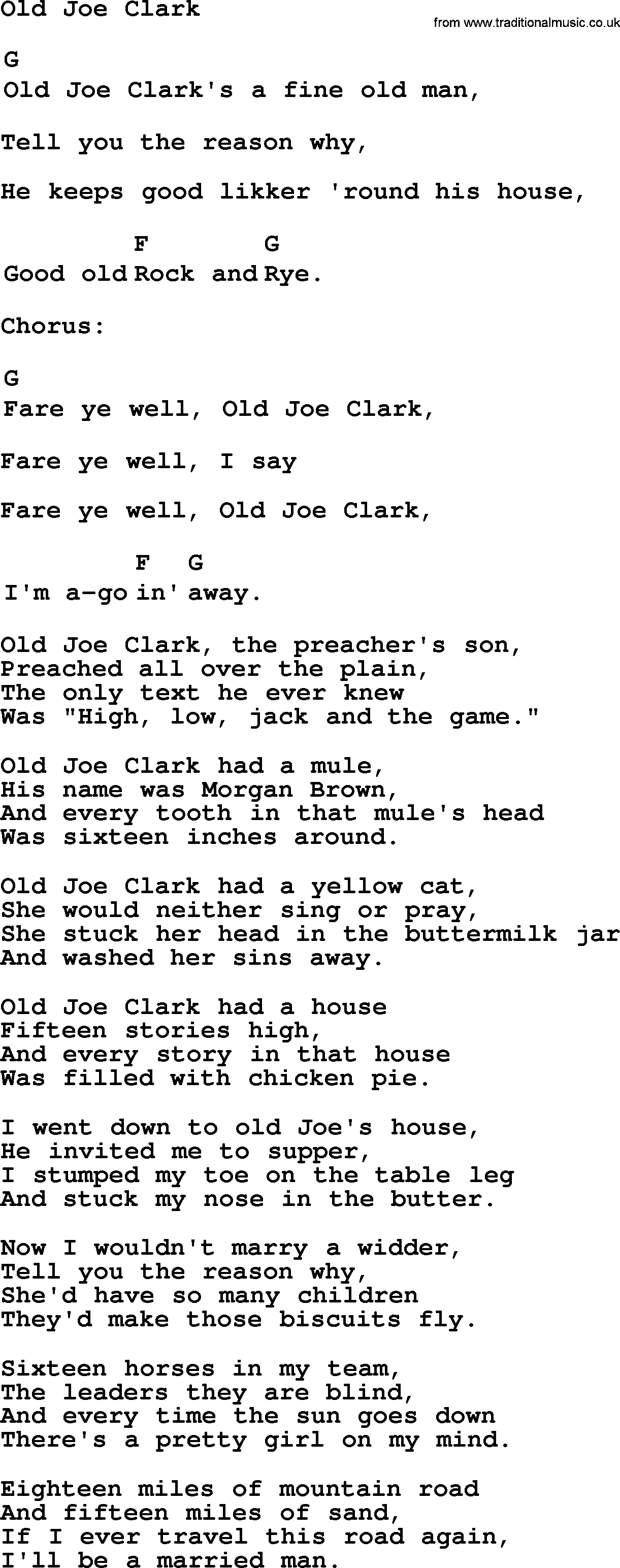Top 1000 folk and old time songs collection old joe clark top 1000 most popular folk and old time songs old joe clark lyrics hexwebz Image collections