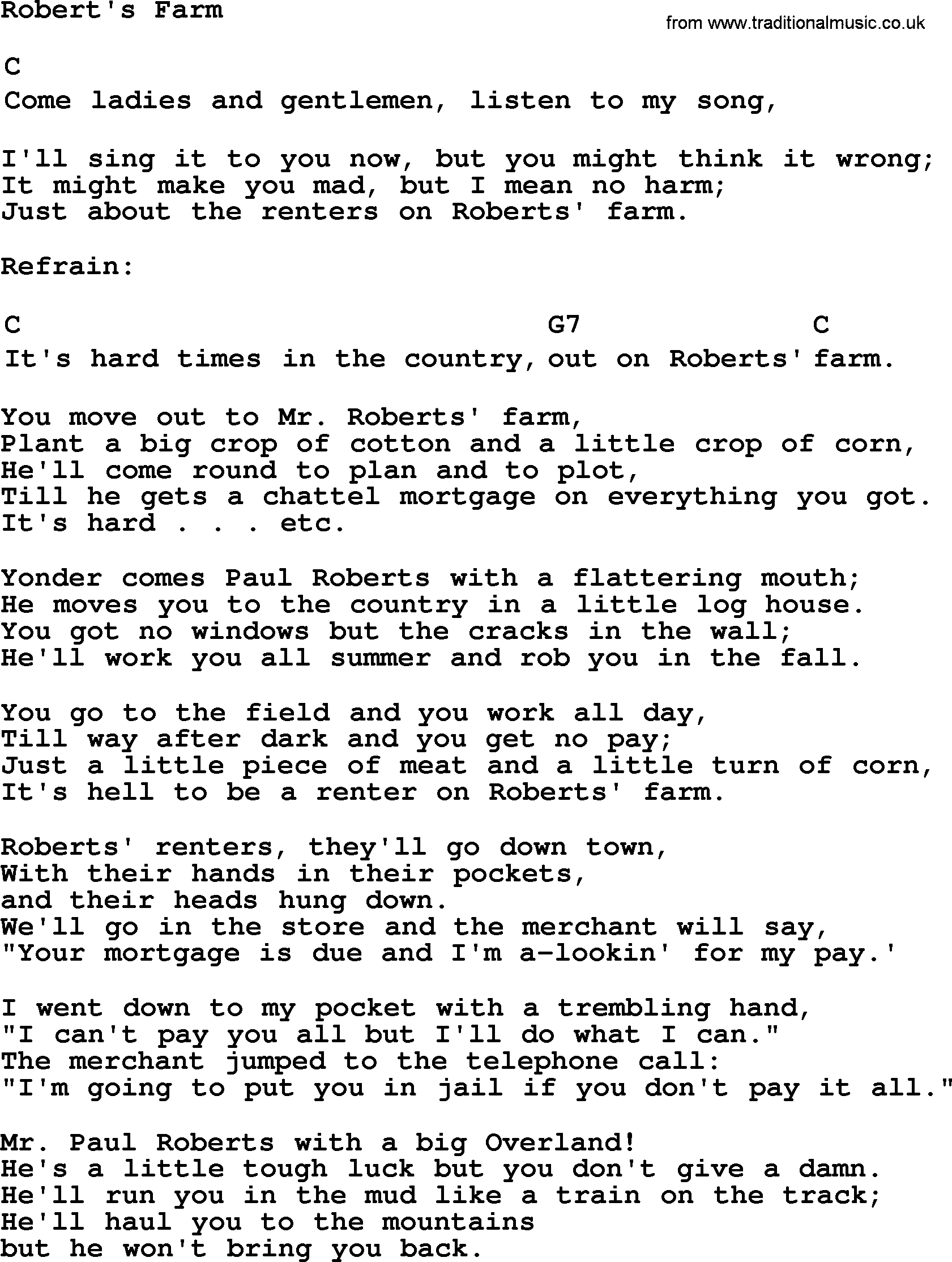 Top 1000 folk and old time songs collection roberts farm lyrics top 1000 most popular folk and old time songs roberts farm lyrics and hexwebz Choice Image