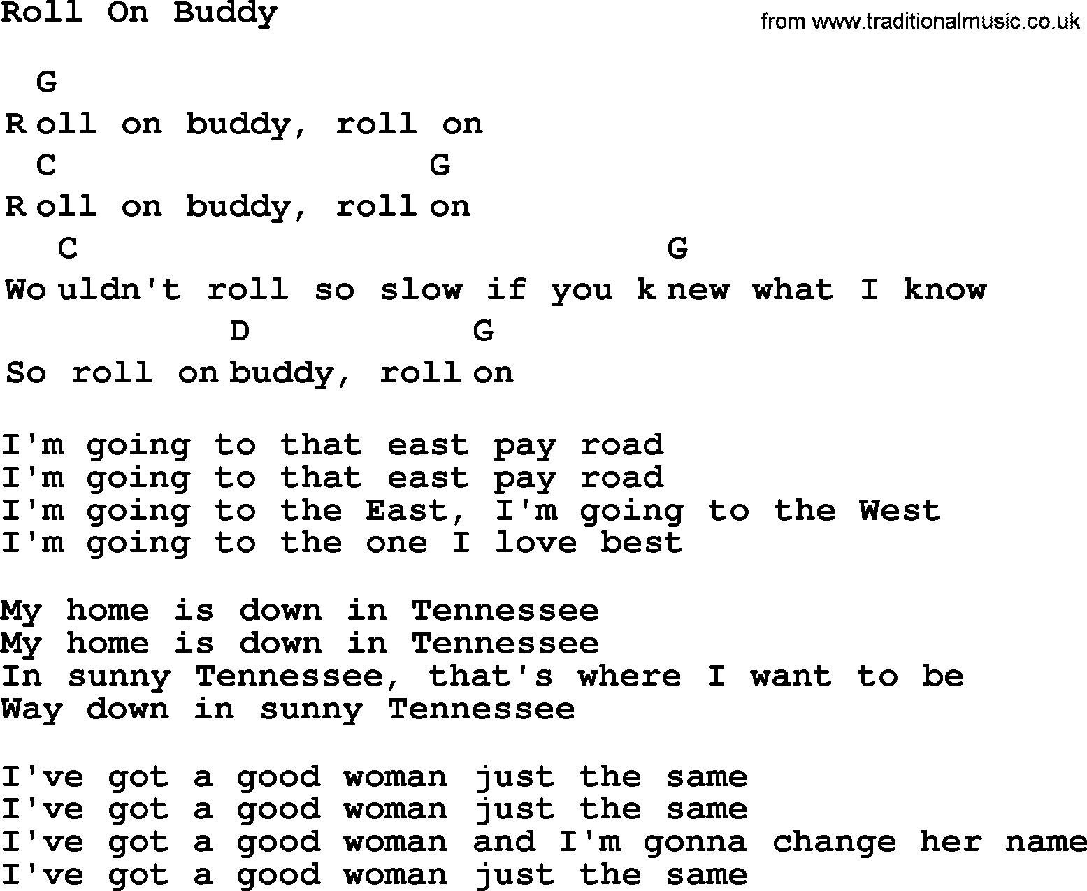 Time Song Lyrics With Chords For When The Roll Is: Top 1000 Folk And Old Time Songs Collection: Roll On Buddy