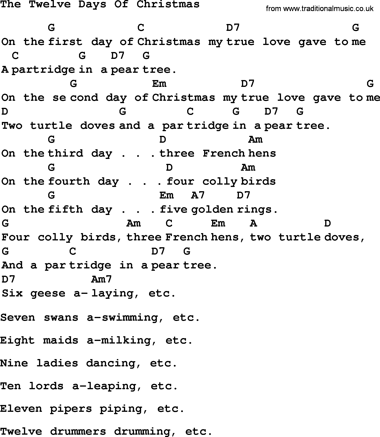 top 1000 most popular folk and old time songs twelve days of christmas - 12 Days Of Christmas Lyrics
