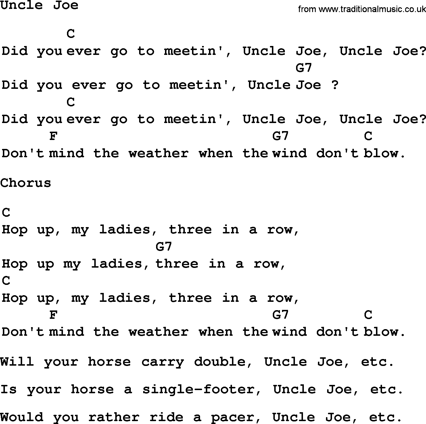 Top 1000 Folk And Old Time Songs Collection Uncle Joe Lyrics With