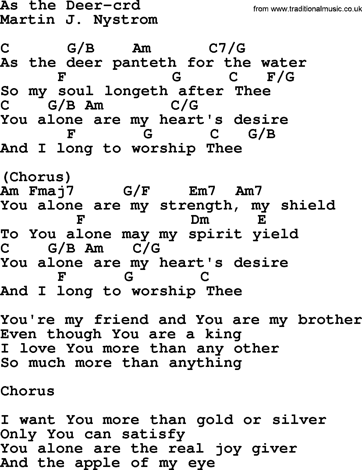 AS THE DEER CHORDS by Hillsongs @ Ultimate-Guitar.Com