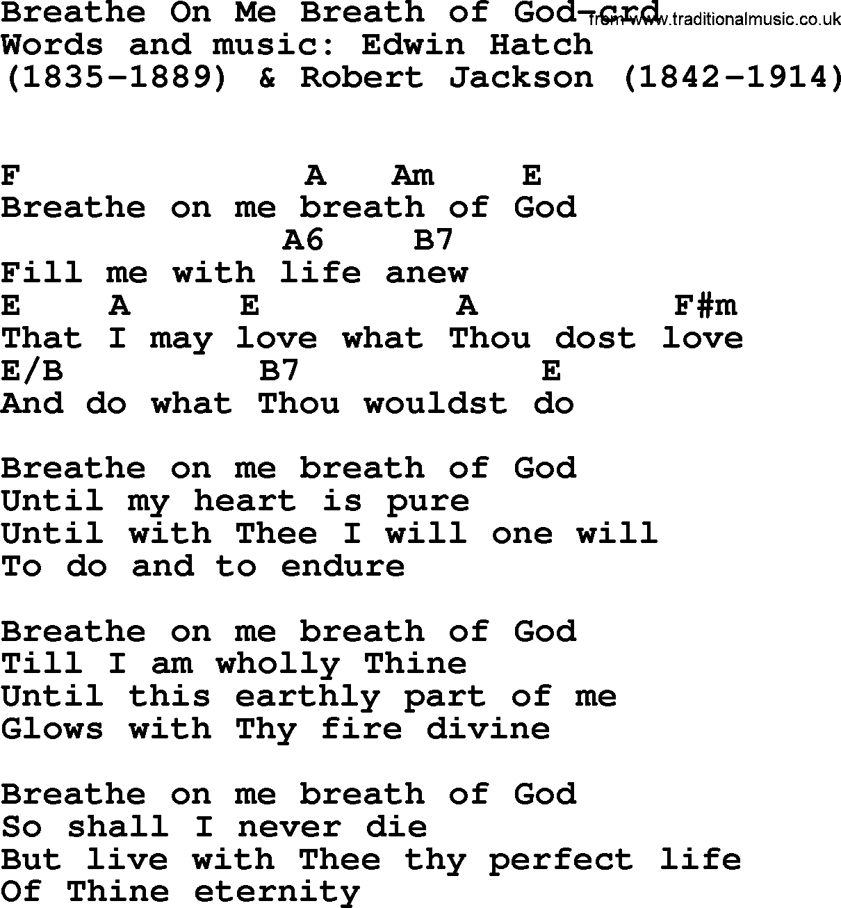 Top 500 Hymn Breathe On Me Breath Of God Lyrics Chords And Pdf
