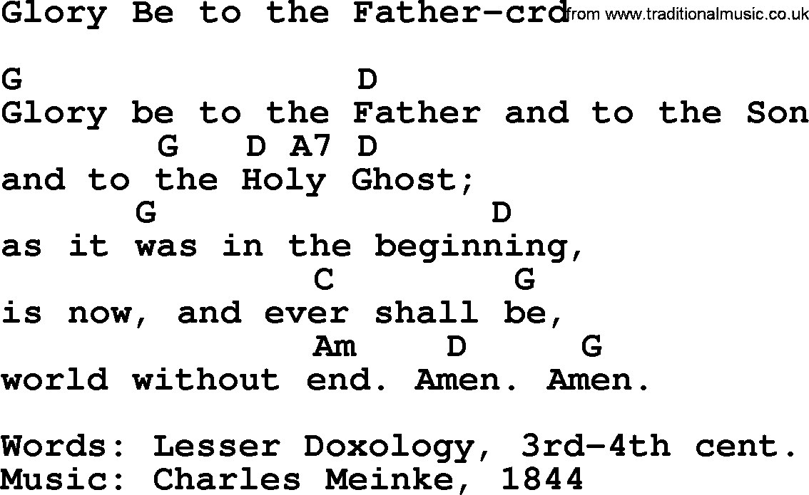 Top 500 Hymn Glory Be To The Father Lyrics Chords And Pdf