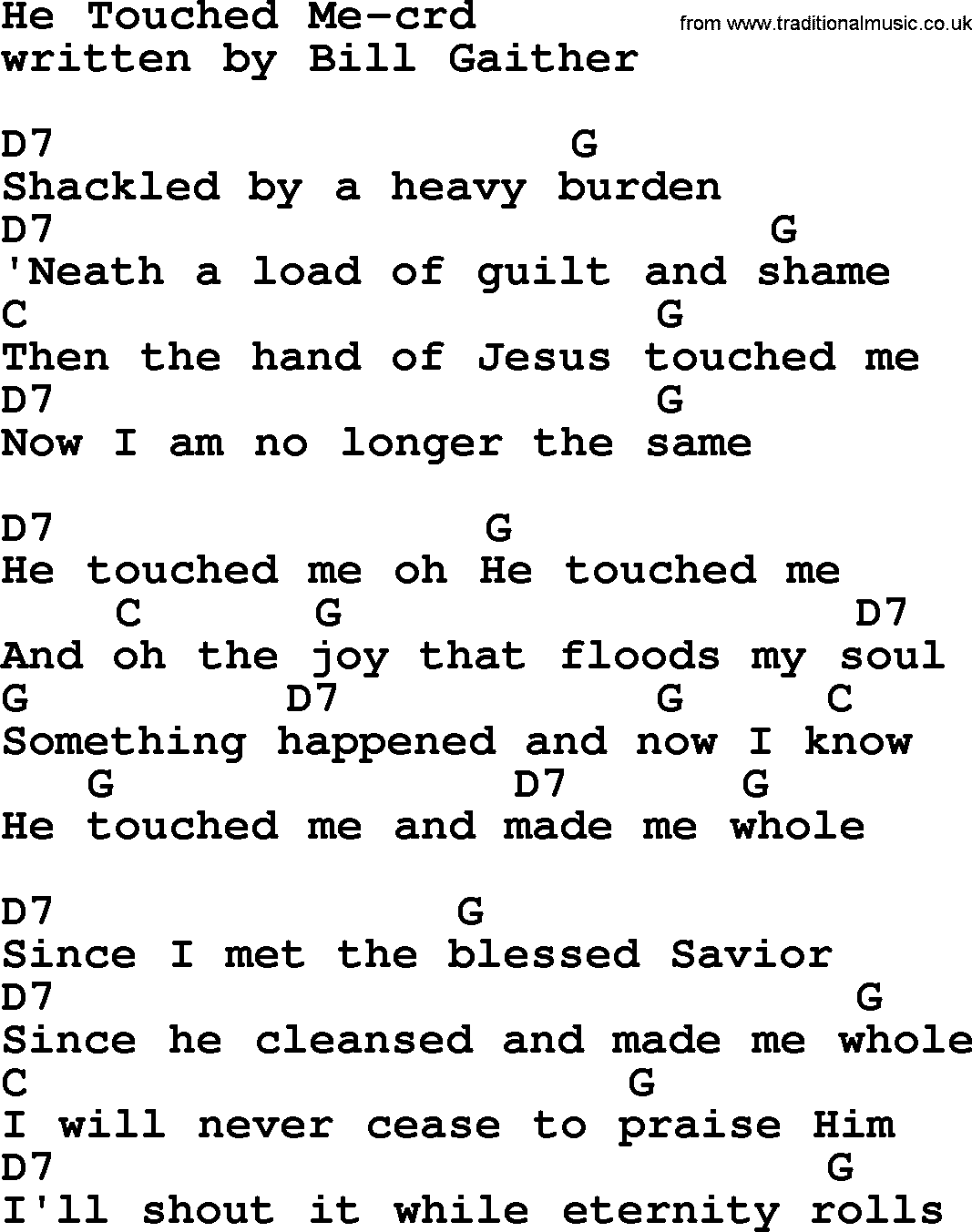 Top 500 Hymn He Touched Me Lyrics Chords And Pdf