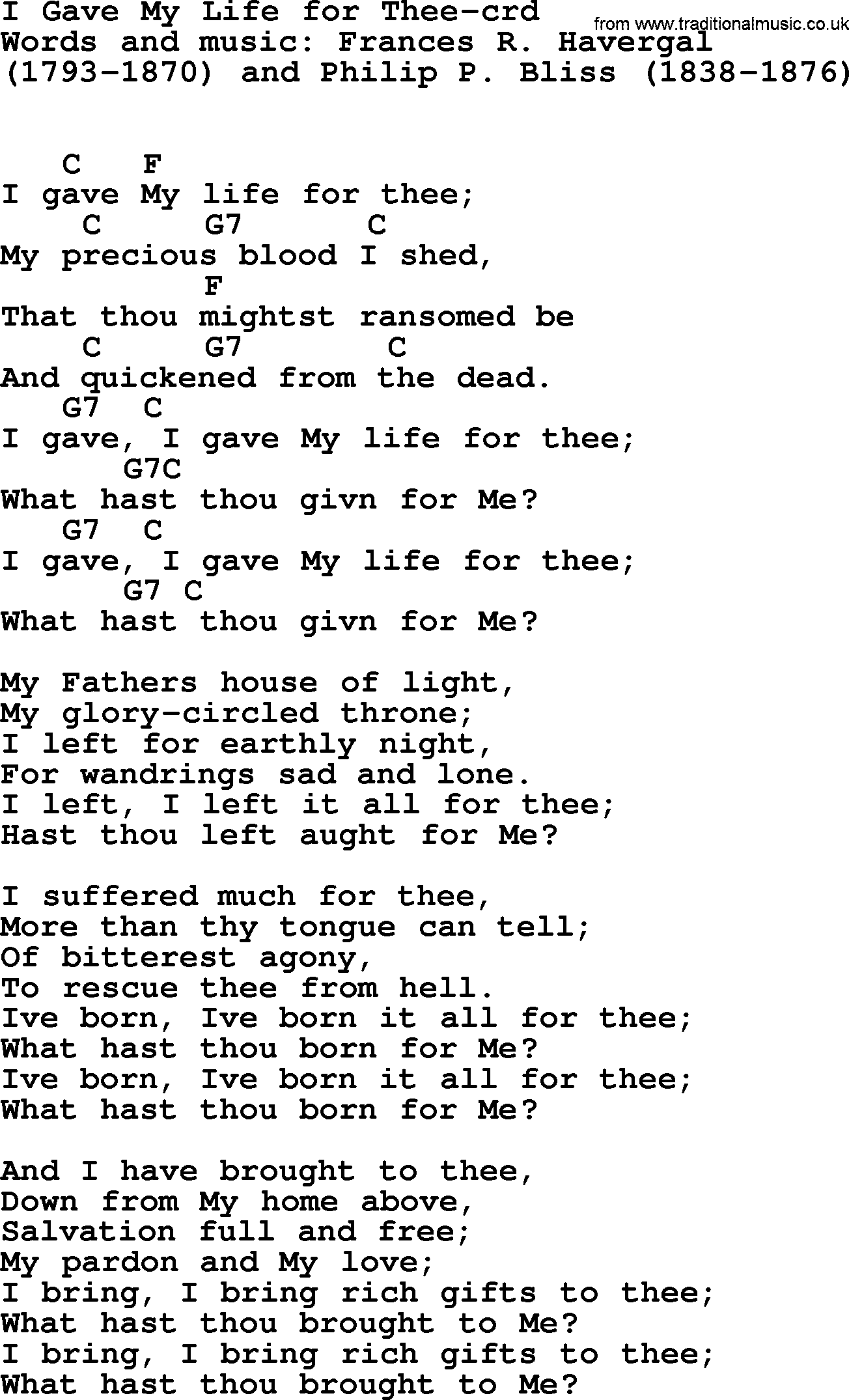 Top 500 Hymn I Gave My Life For Thee Lyrics Chords And Pdf