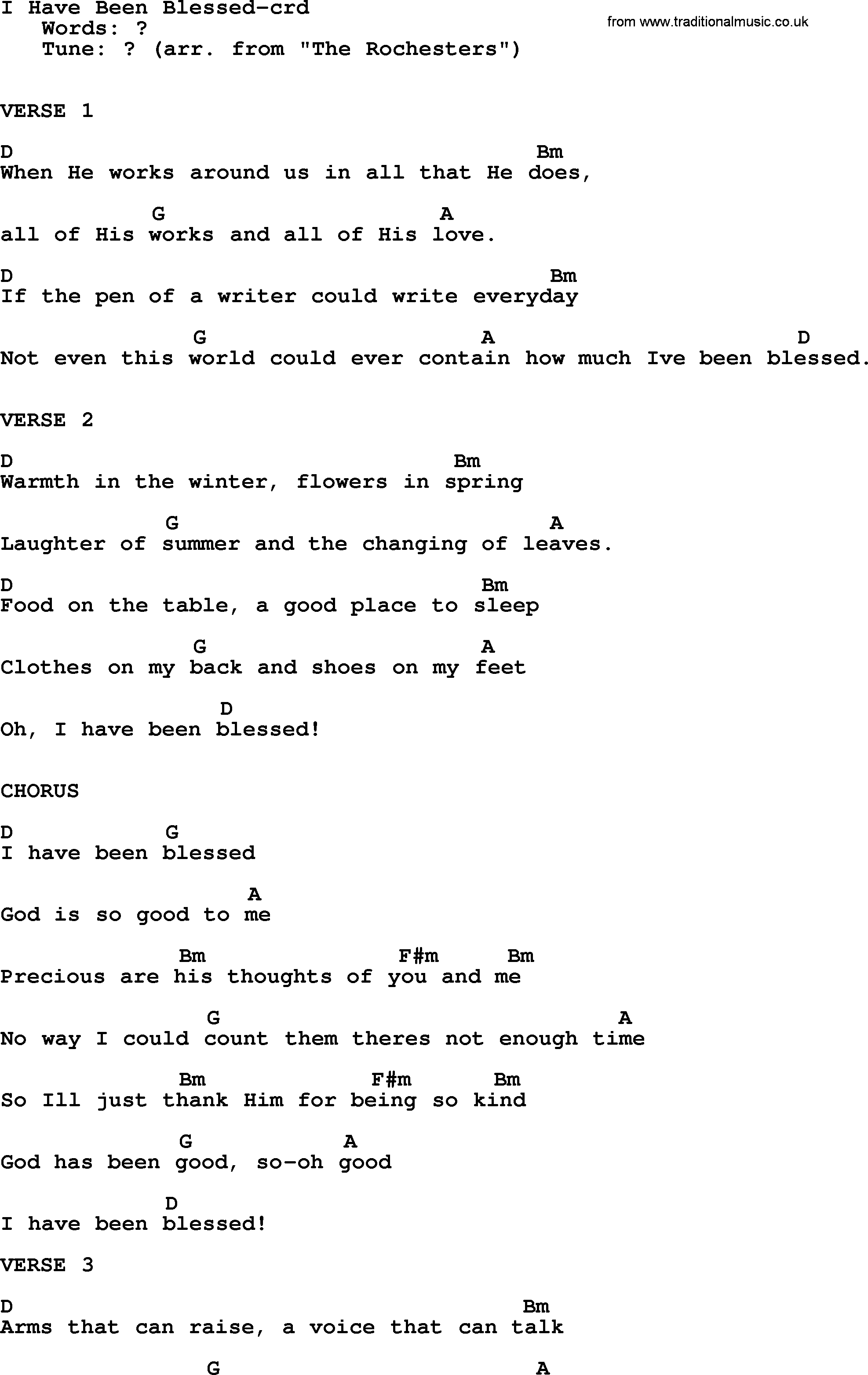 Top 15 Hymn I Have Been Blessed   lyrics, chords and PDF