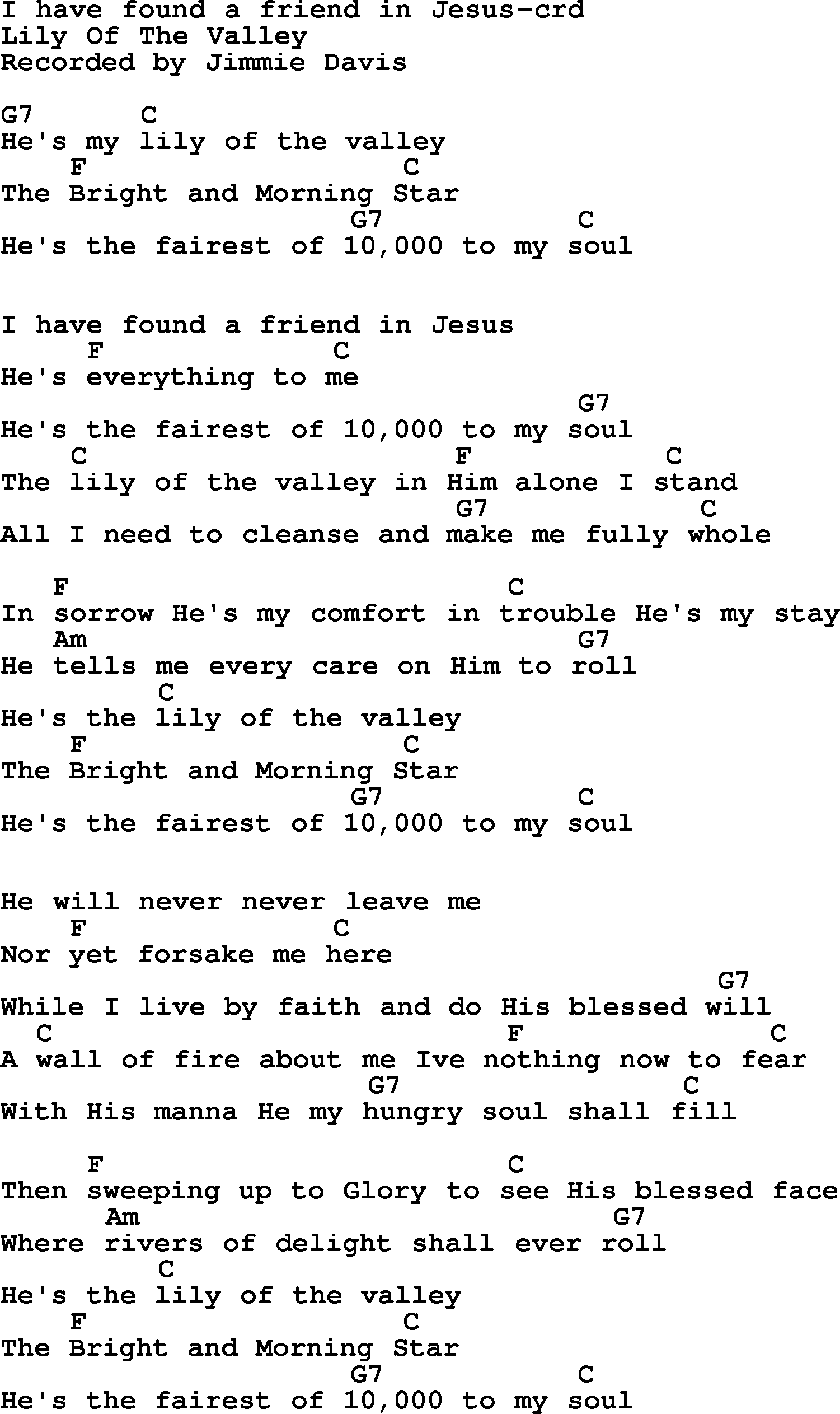 Top 500 Hymn I Have Found A Friend In Jesus Lyrics And Chords