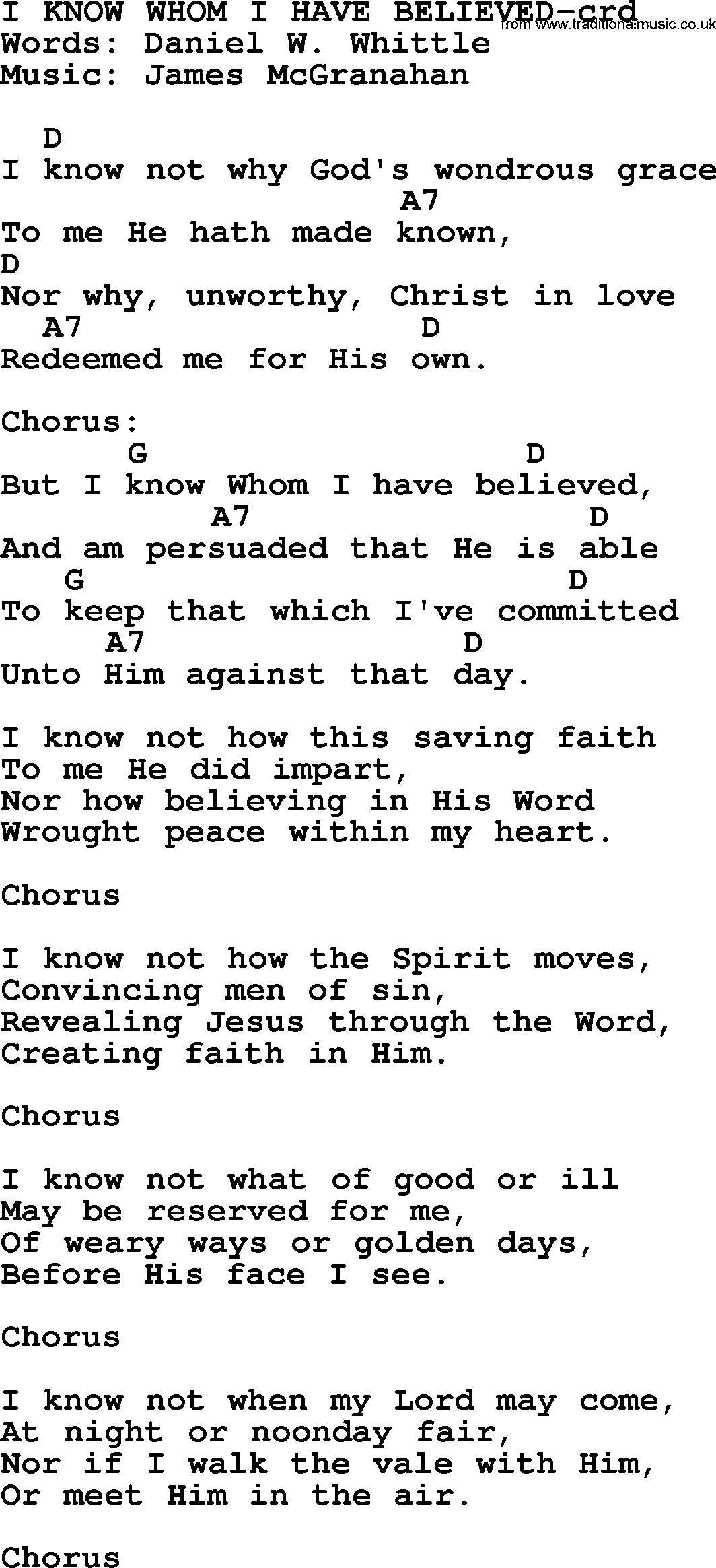 Top 500 Hymn: I Know Whom I Have Believed - lyrics, chords and PDF