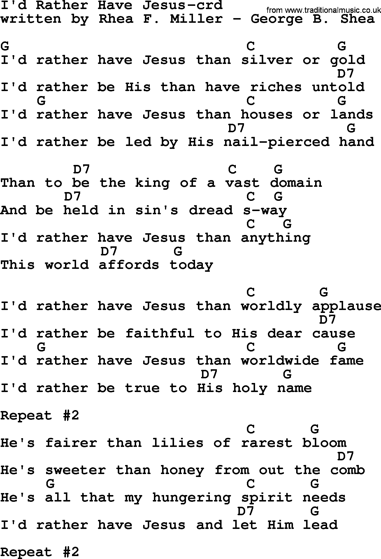 Top 500 Hymn Id Rather Have Jesus Lyrics Chords And Pdf