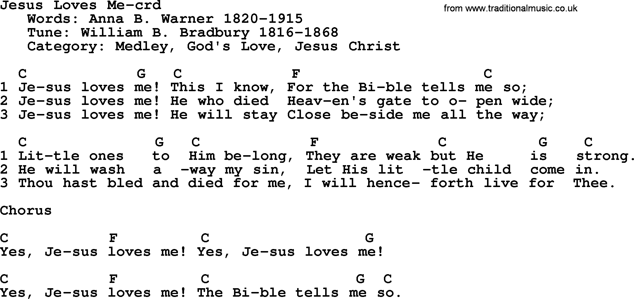 Top 500 Hymn: Jesus Loves Me - lyrics, chords and PDF