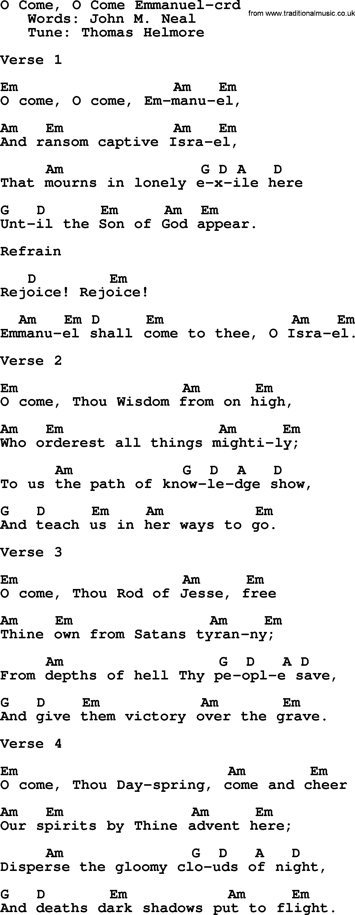 Top 500 Hymn O Come O Come Emmanuel Lyrics Chords And Pdf