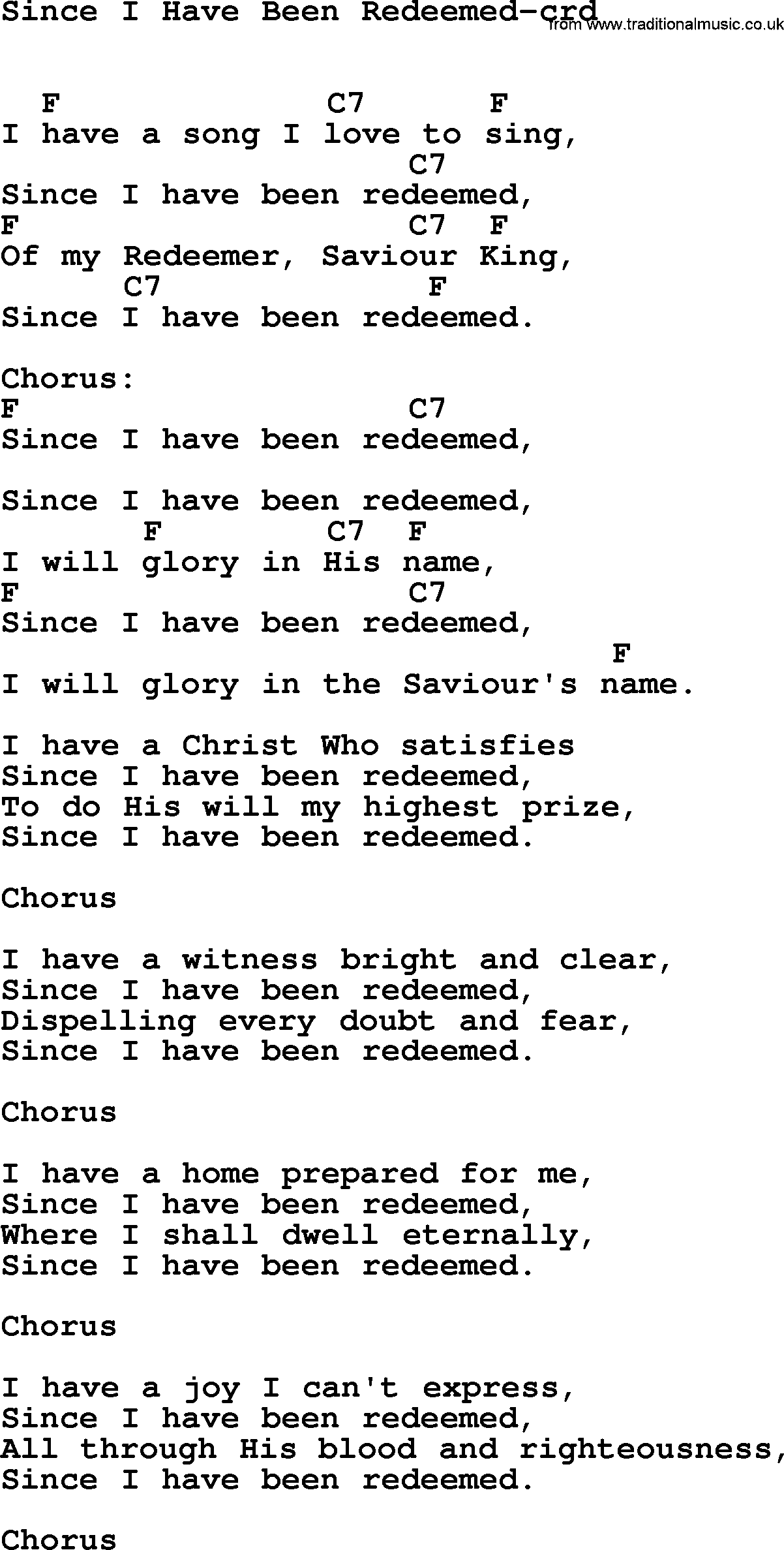 Redeemed lyrics for Bedroom hymns lyrics