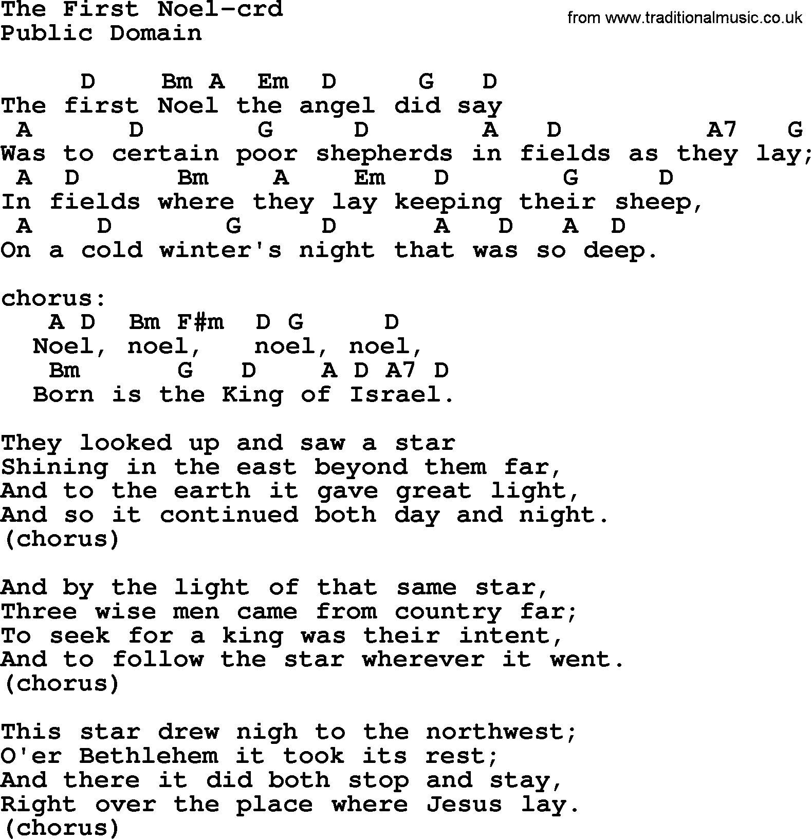 The First Noel Chords and Lyrics - riffspot.com