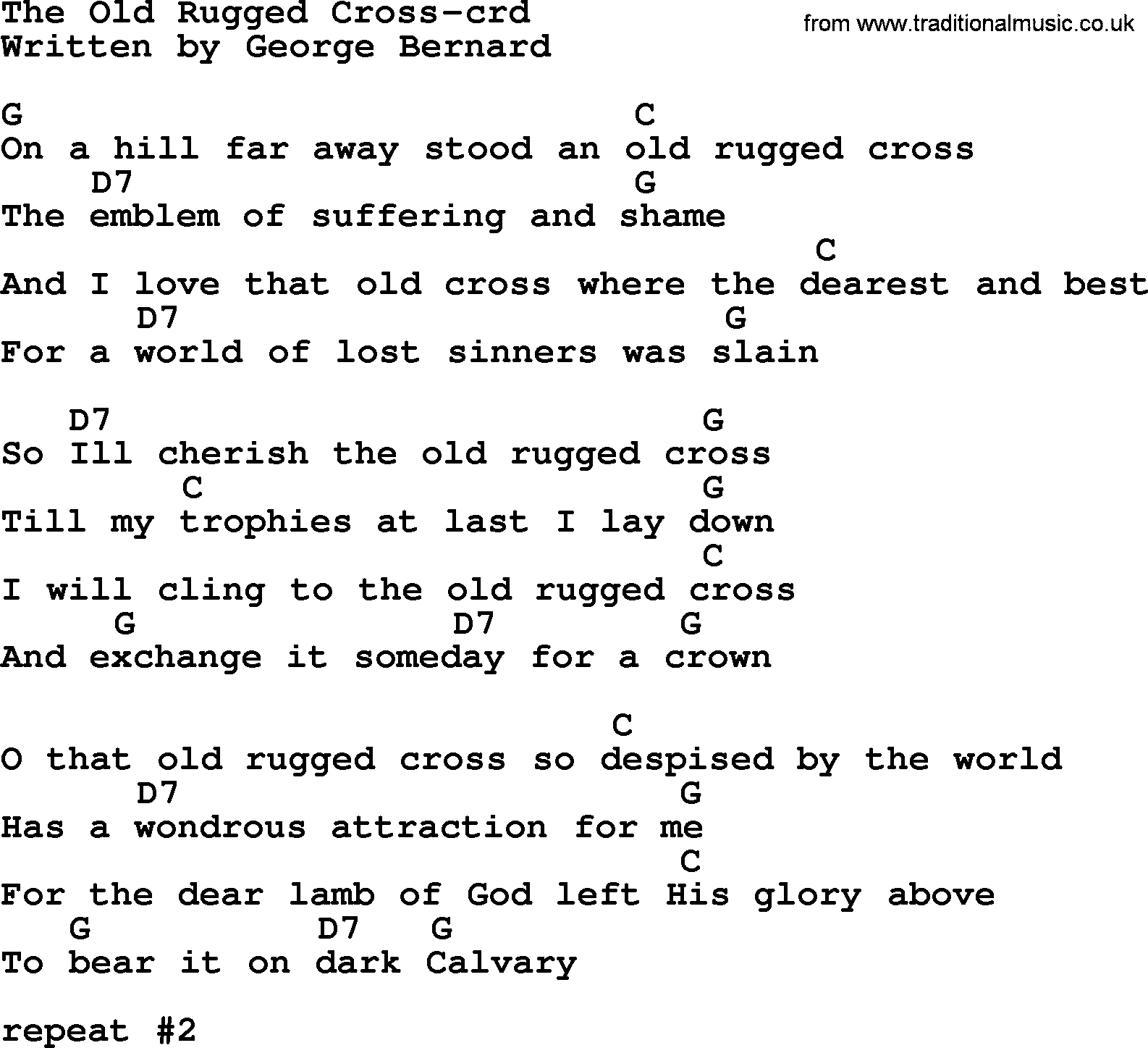 Top 500 Hymn: The Old Rugged Cross, Lyrics And Chords