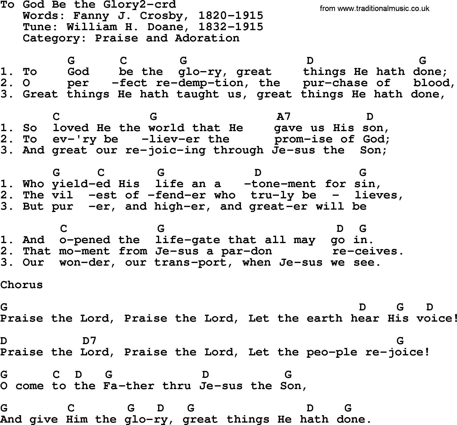 To god be the glory guitar chords