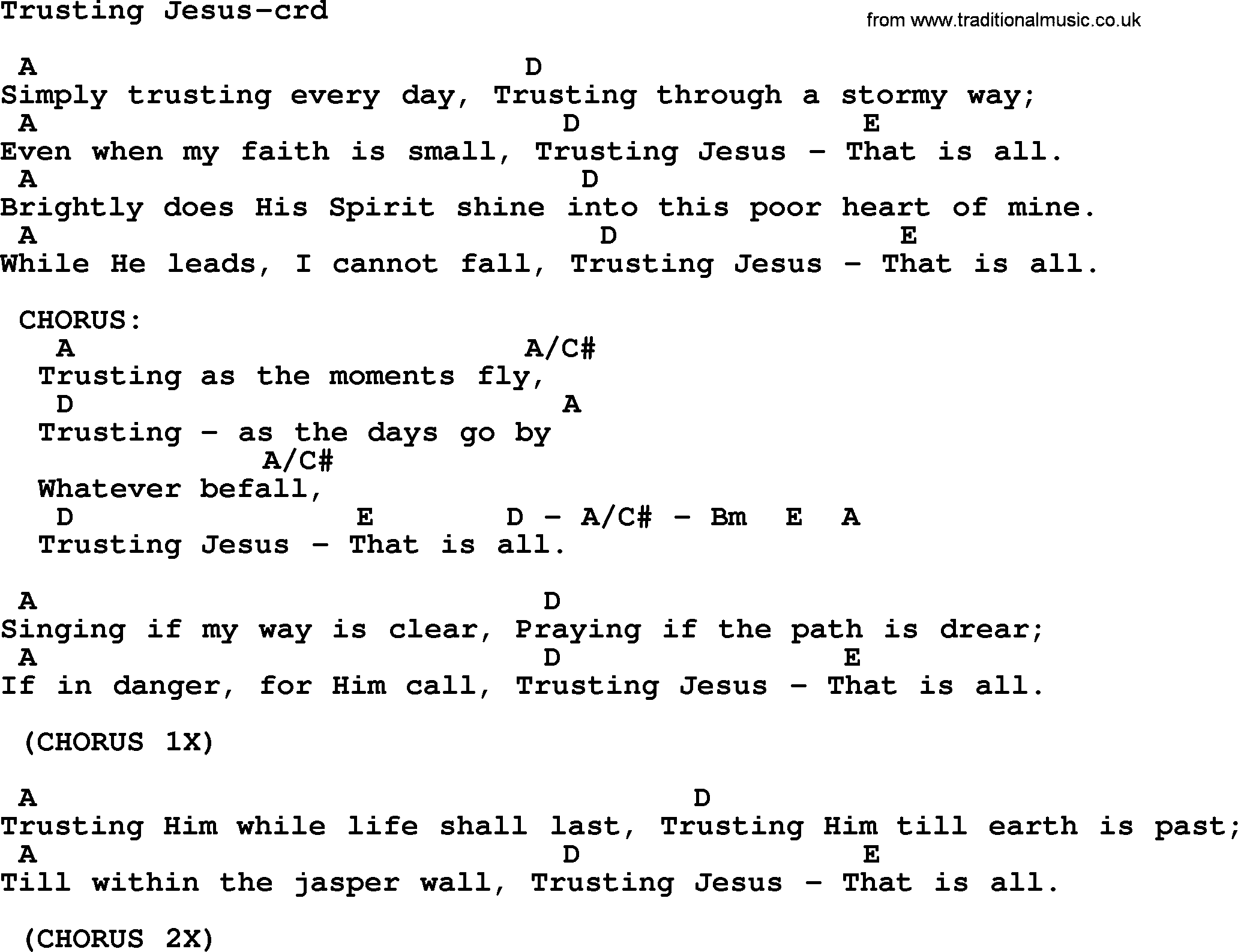 Top 500 Hymn Trusting Jesus Lyrics Chords And Pdf