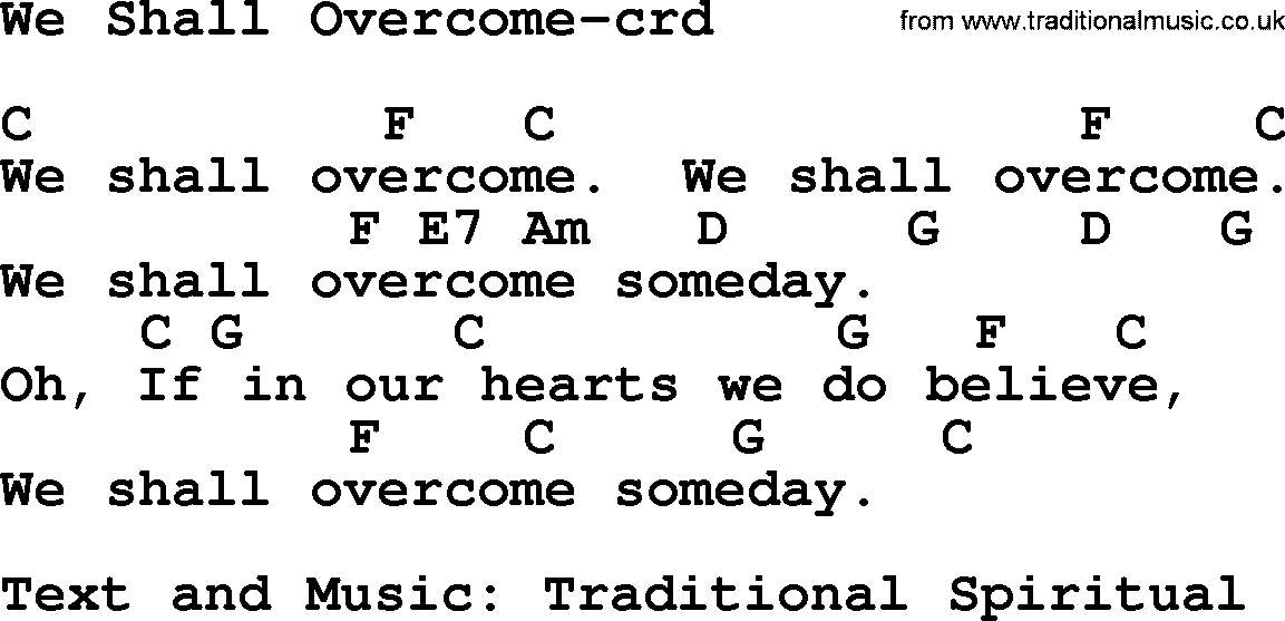Top 500 Hymn: We Shall Overcome - lyrics, chords and PDF