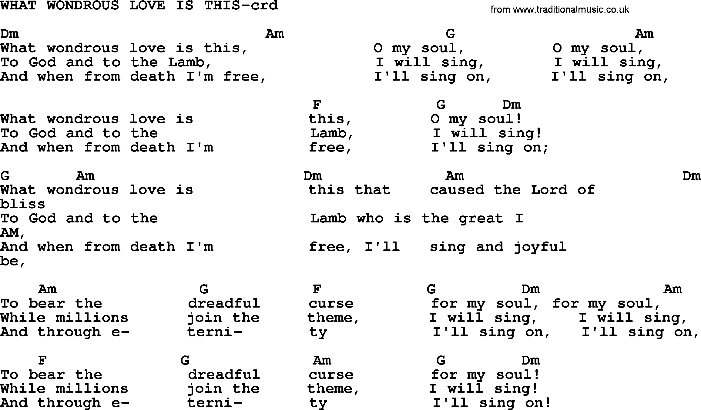 Top 500 Hymn: What Wondrous Love Is This - lyrics, chords ...