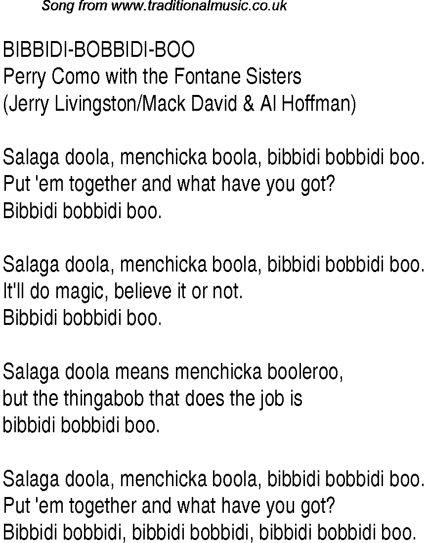 Bibbidi Bobbidi Boo lyrics - YouTube