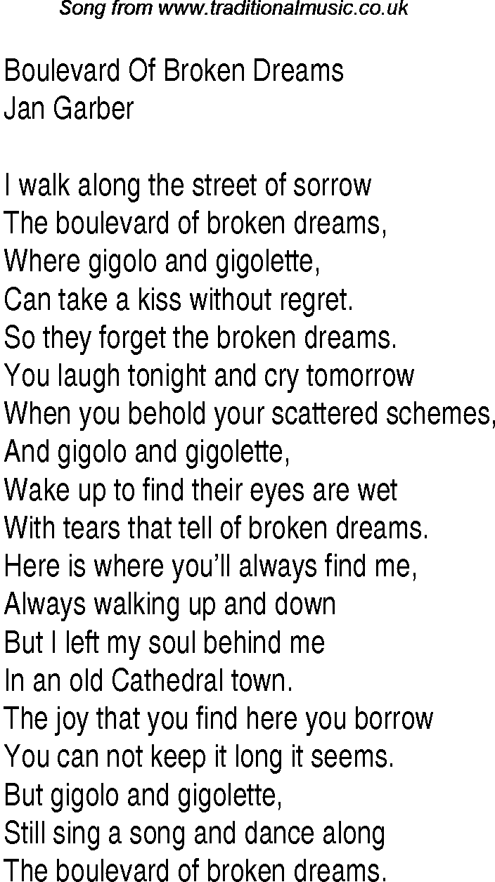 Green Day -Boulevard of Broken Dreams lyrics - YouTube