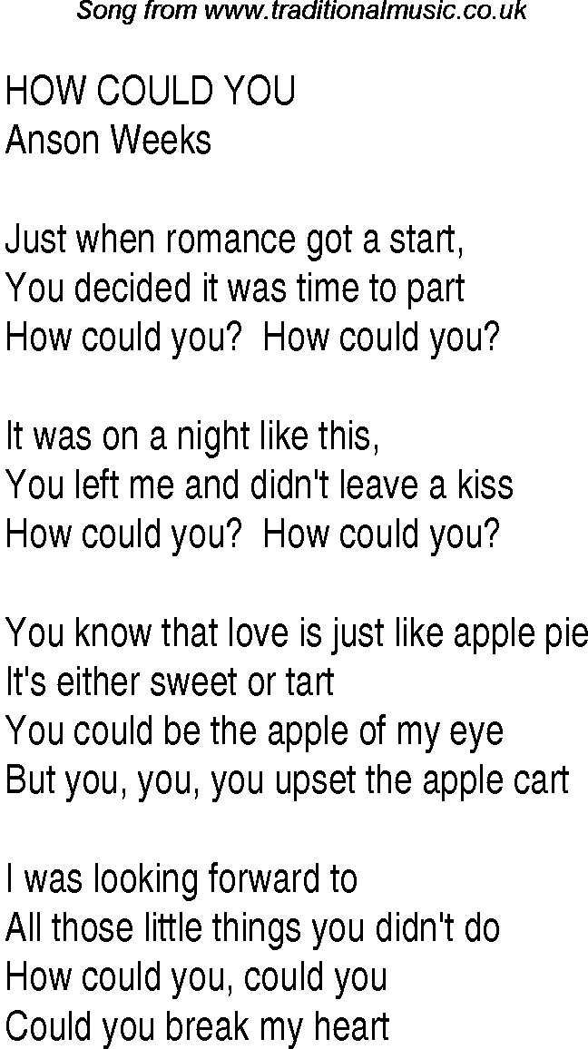 Lyric songs with apple in the lyrics : Top songs, 1937 music charts: lyrics for How Could You