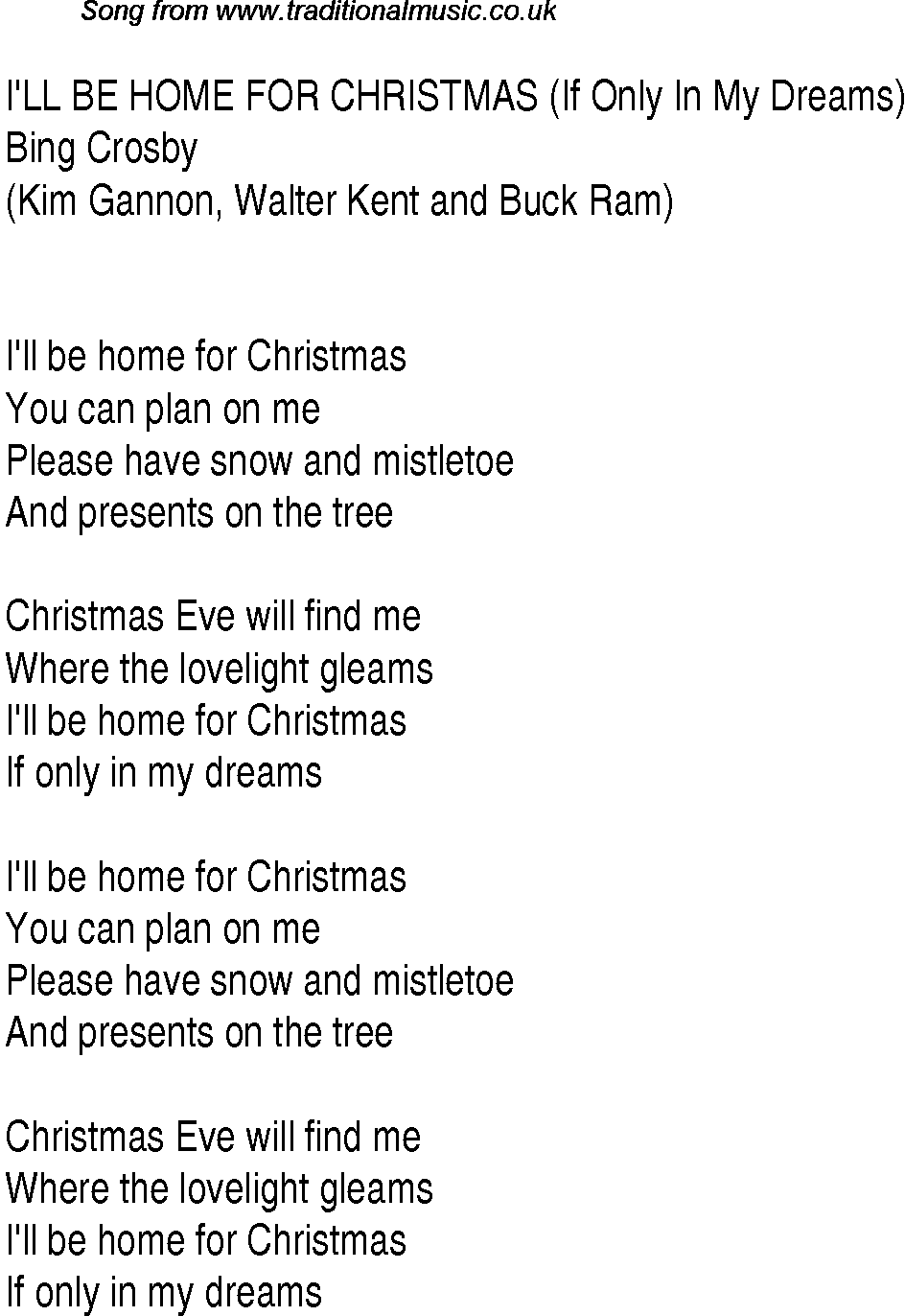 Top songs, 1943 music charts: lyrics for Ill Be Home For Christmas