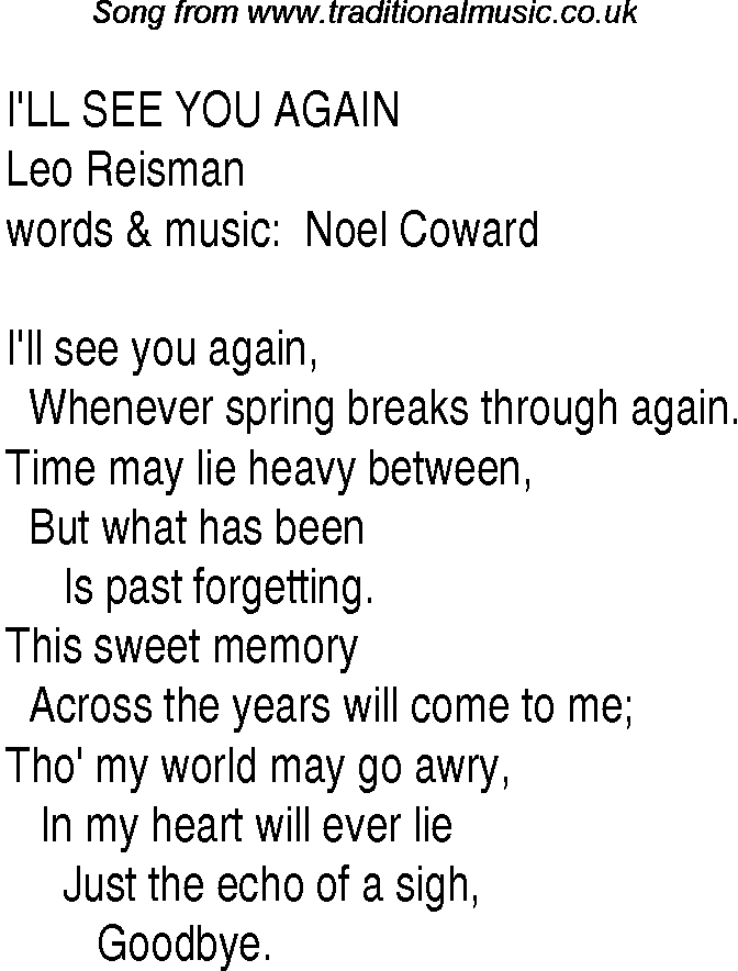 lyrics for ill meet you in the morning