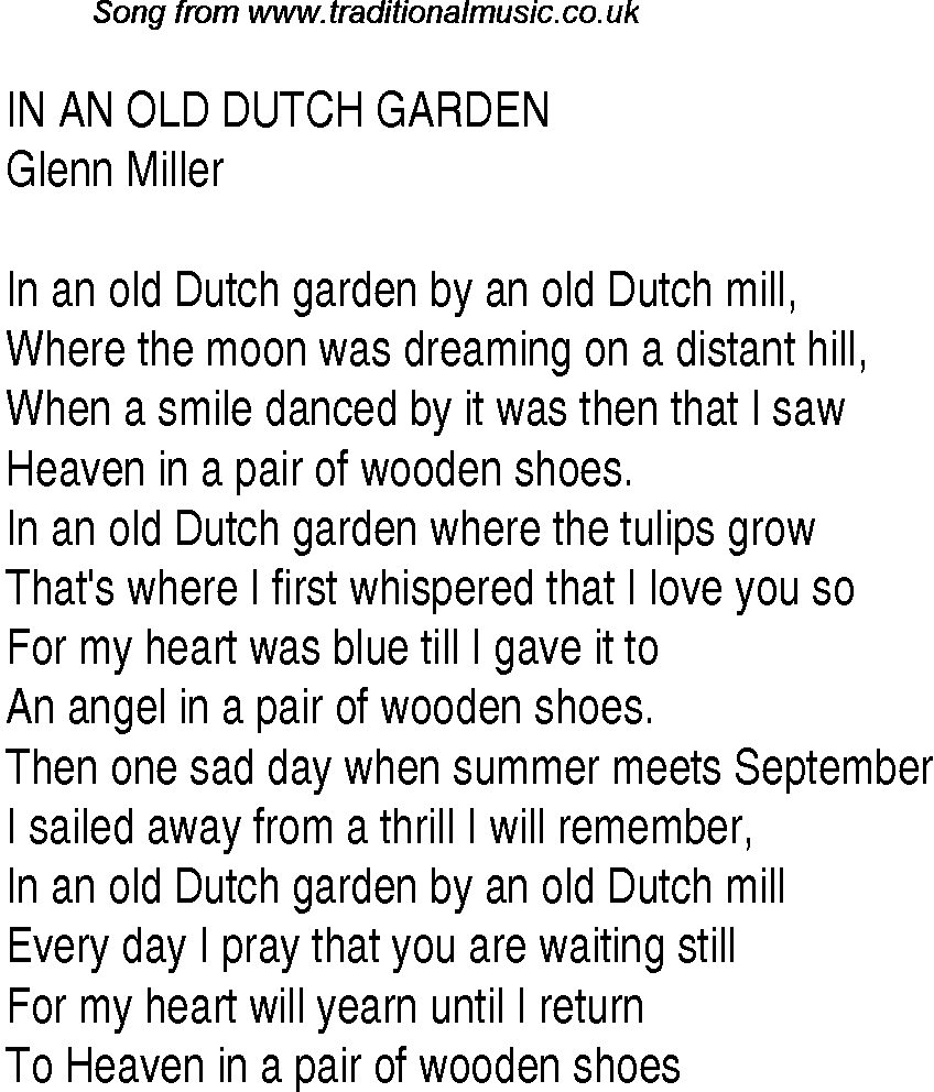 Top songs, 1940 music charts: lyrics for In An Old Dutch Garden