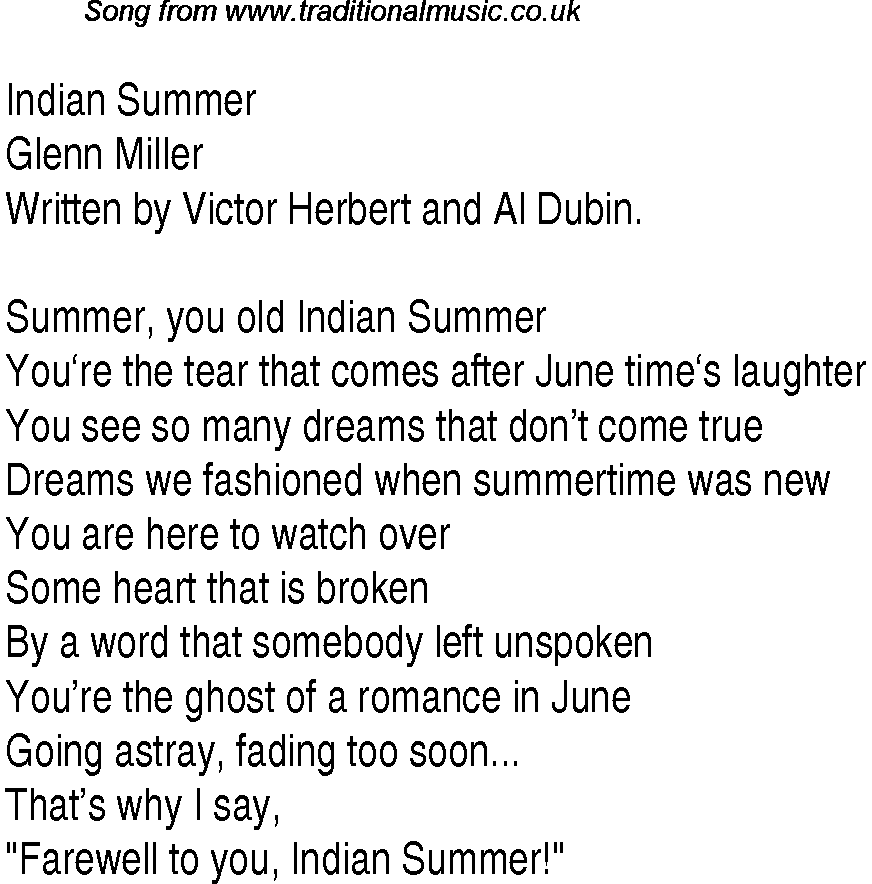 Top songs, 1940 music charts: lyrics for Indian Summergm