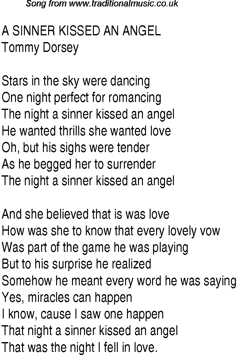 Kissed by an angel song