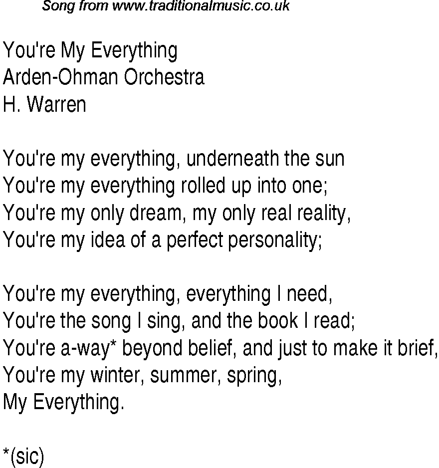 you re my everything lyrics:
