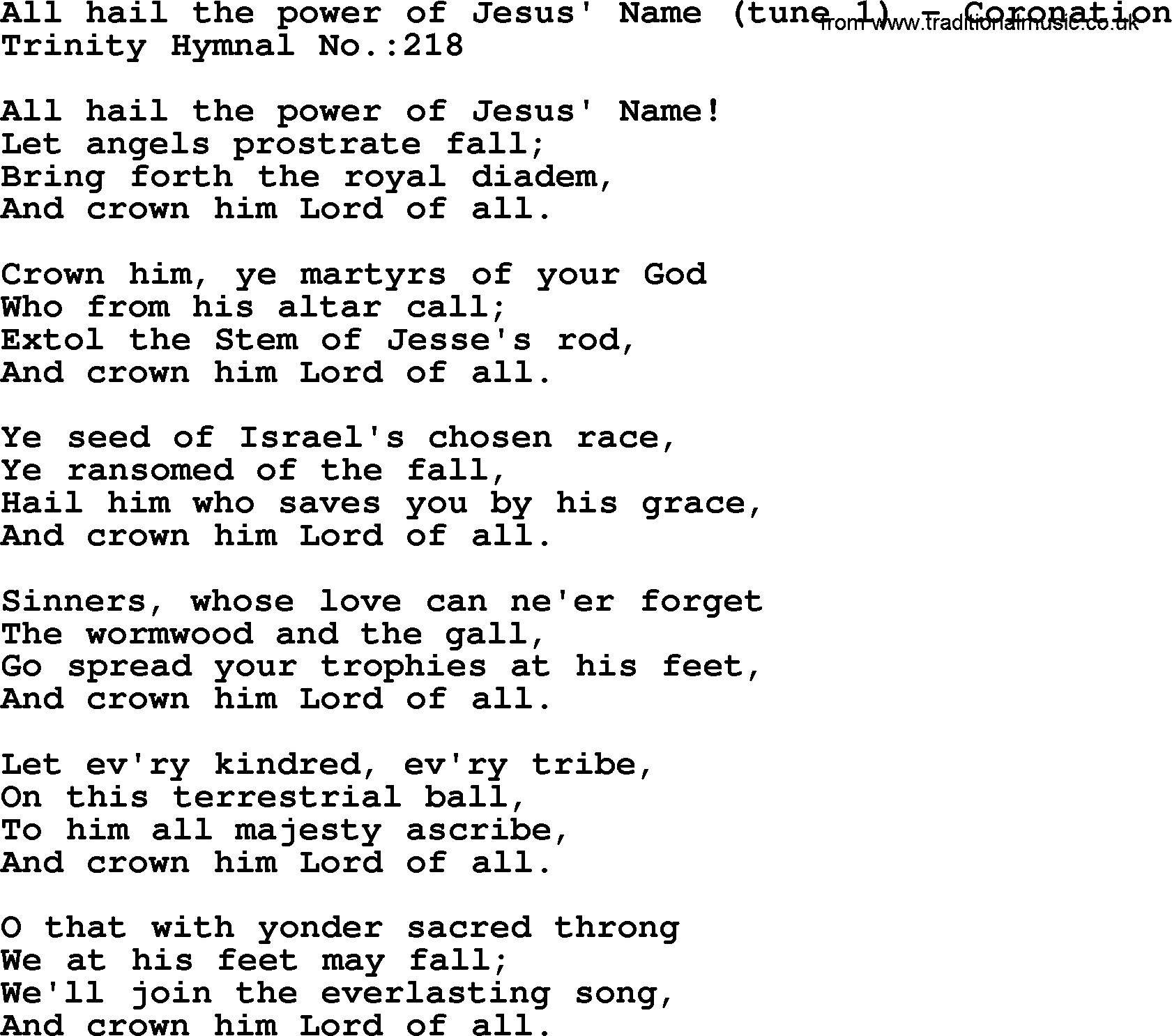 All Hail The Power Of Jesus' Name [with lyrics ...