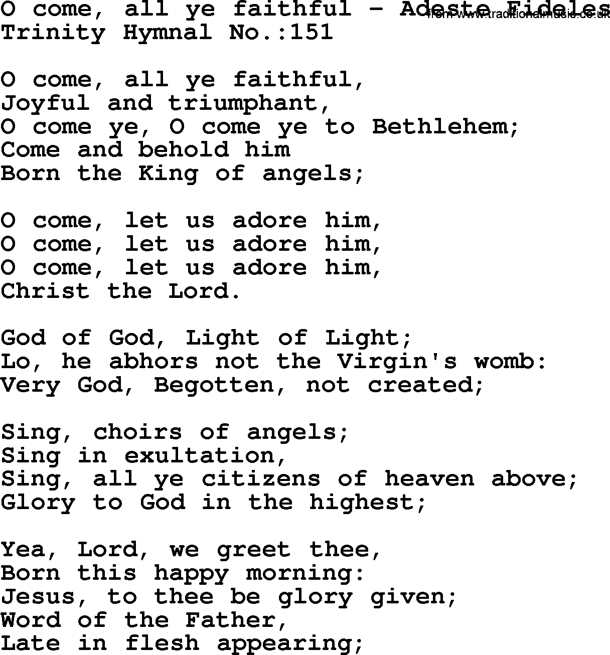 O Come All Ye Faithful with lyrics. - YouTube