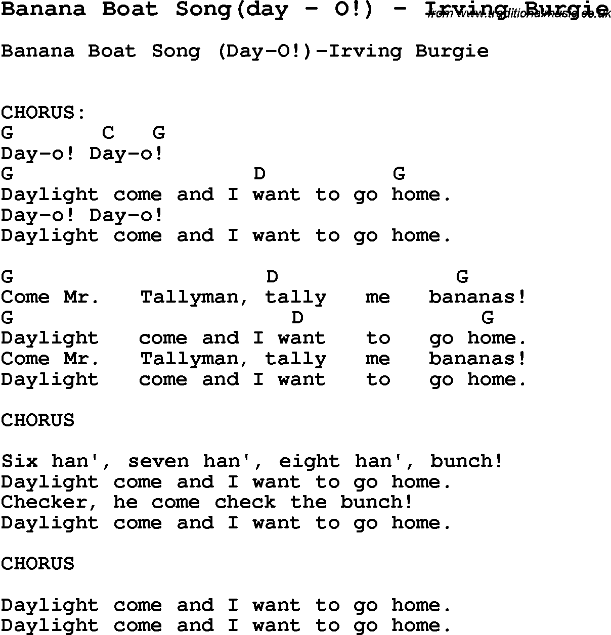 Song banana boat songday by o by irving burgie song lyric for song banana boat songday by o by irving burgie with lyrics hexwebz Image collections