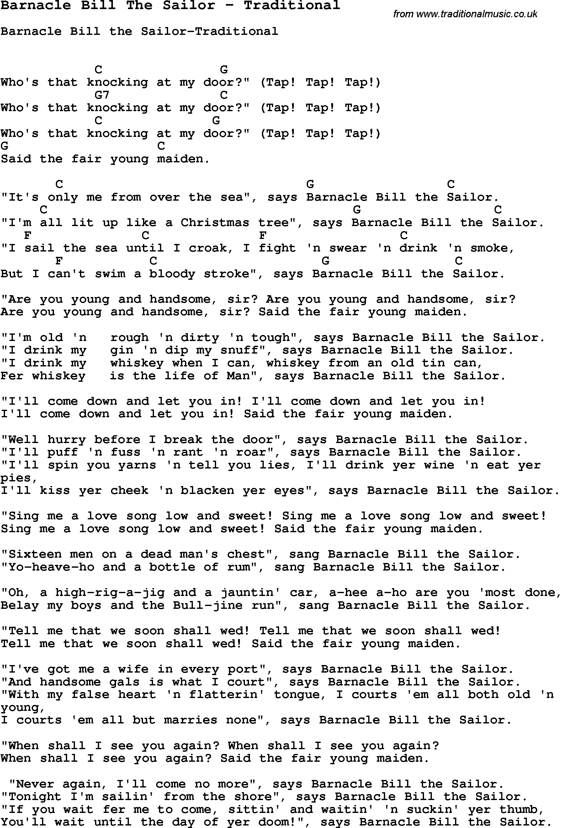 Song barnacle bill the sailor by traditional song lyric for vocal song barnacle bill the sailor by traditional with lyrics for vocal performance and accompaniment chords hexwebz Images