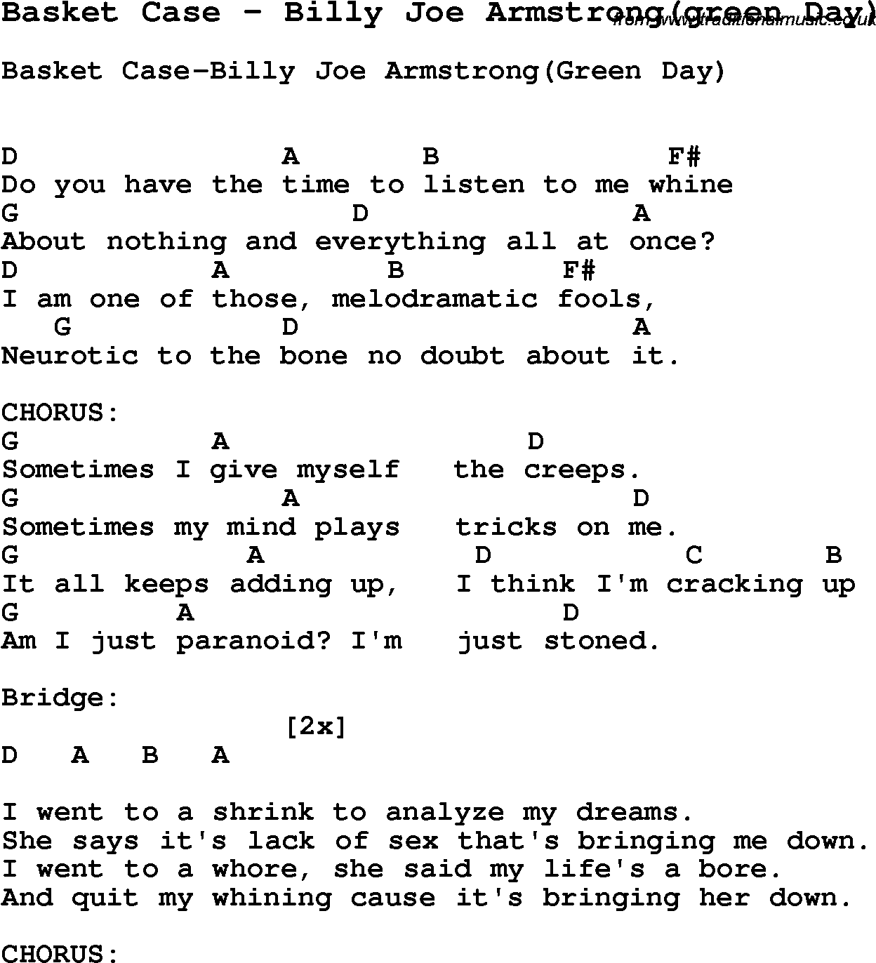 Song Basket Case by Billy Joe Armstrong(green Day), song lyric for vocal performance plus ...